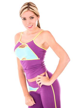 ropa deportiva: Mujer hermosa en ropa de fitness - aislados en un fondo blanco
