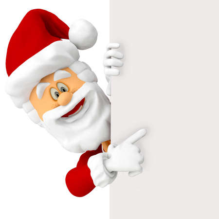 3D Happy Santa pointing at a banner - isolated over white  Stock Photo - 16375267