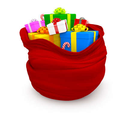 3D Christmas sack of gifts - isolated over a white background  photo