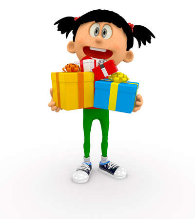 3D kid holding gifts - isolated over a white background  photo