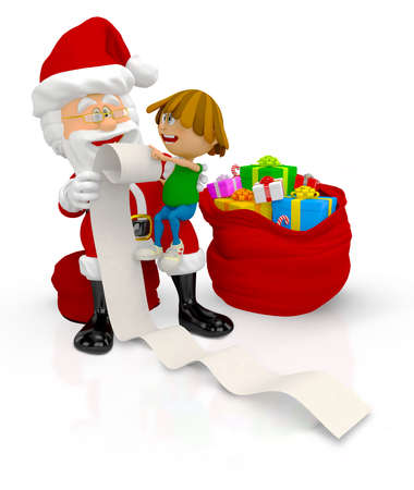 3D Santa with a kid and a list of gifts - isolated over white  Stock Photo - 16375278