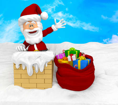 3D Santa on the roof looking very happy  Stock Photo - 16375520