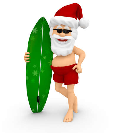 3D Santa enjoying the Christmas holidays with a surfboard - isolated  Stock Photo - 16375270