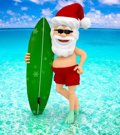 sunglasses beach: 3D Santa enjoying his holidays at the beach