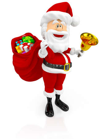 3D Happy Santa Claus with a gift sack - isolated over a white background  Stock Photo - 16375272