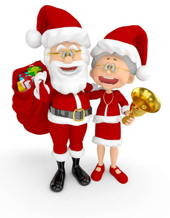 3D Santa and Mrs Claus looking happy - isolated over a white background  photo