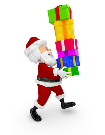 3D Santa carrying Christmas gifts - isolated over a white background  Stock Photo - 16375264