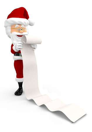 3D Santa with a long Christmas list - isolated over a white background  Stock Photo - 16375521