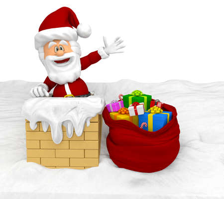 3D Santa entering a house through the chimney Stock Photo - 16375522