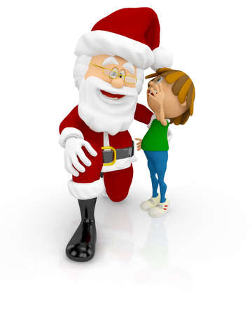 3D Santa with a boy tellking him a secret - isolated over white background  Stock Photo - 16375277