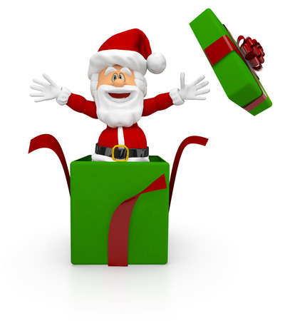 3D Santa giving a Christmas surprise coming out from a gift - isolated  Stock Photo - 16375268