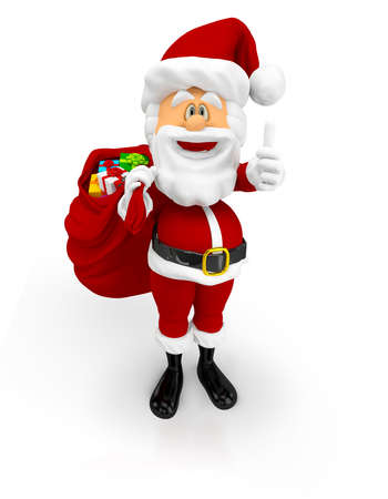 3D Happy Santa with thumbs up with Christmas gifts - isolated  Stock Photo - 16375265
