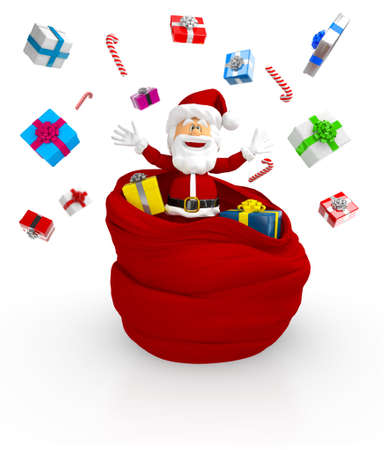 christmassy: 3D Happy Santa throwing gifts - isolated over a white background  Stock Photo