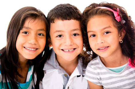 hispanic women: Happy group of kids - isolated over a white background  Stock Photo