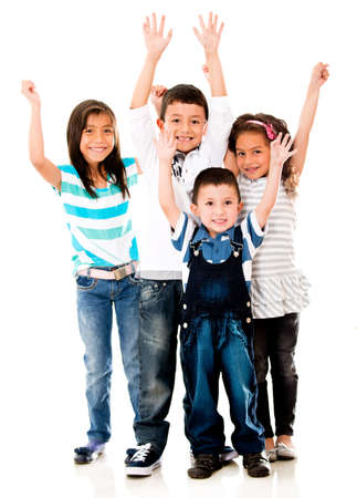 latin: Excited group of kids with arms up having fun - isolated over white