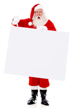 claus: Surprised Santa with a banner - isolated over a white background  Stock Photo