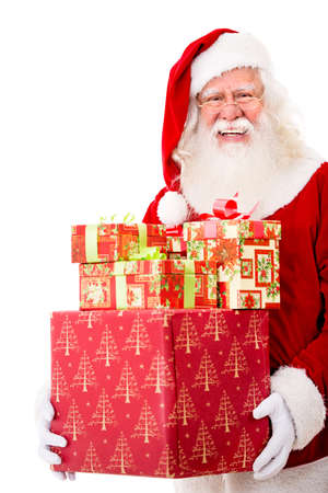 Happy Santa with Christmas gifts - isolated over a white background  Stock Photo - 16409419