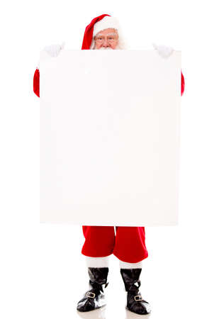 Santa Claus holding a banner - isolated over a white background  Stock Photo - 16409391