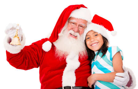 christmassy: Happy Santa with a Christmassy girl - isolated over white background  Stock Photo