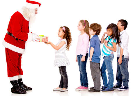 lining up: Santa giving Christmas presents to a group of kids lining up - isolated