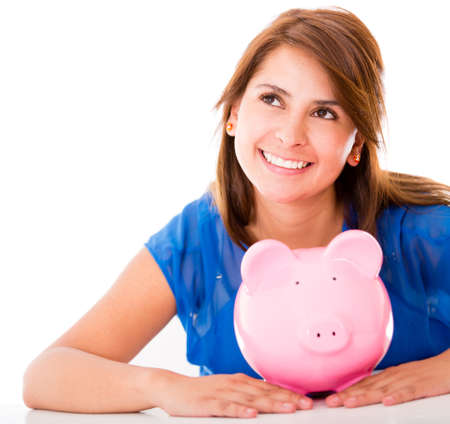 coinbank: Thoughtful woman with her savings - isolated over a white background