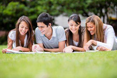 sociable: Gruppo di studenti all'aperto studiando e cercando felice