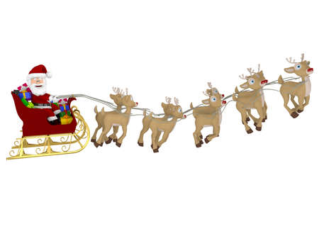 3D Happy Santa on a sleigh - isolated over a white background Stock Photo - 16952155