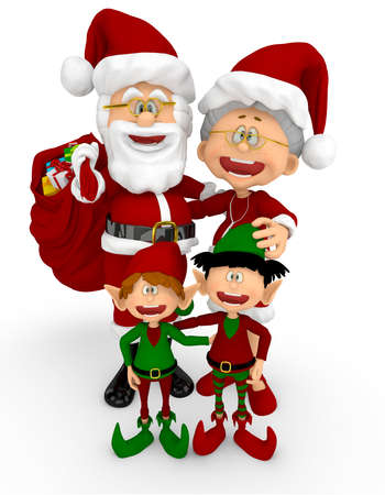 3D Happy Santa family - isolated over a white background photo