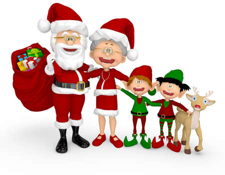 3D Happy Christmas family - isolated over a white background photo