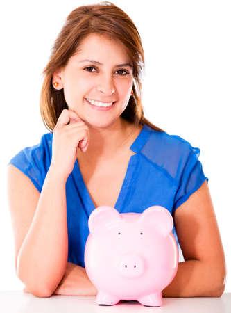 coinbank: Mujer feliz con un piggybank - aislados en un fondo blanco
