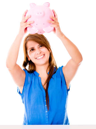 coinbank: Woman using her piggybank savings - isolated over a white background Stock Photo