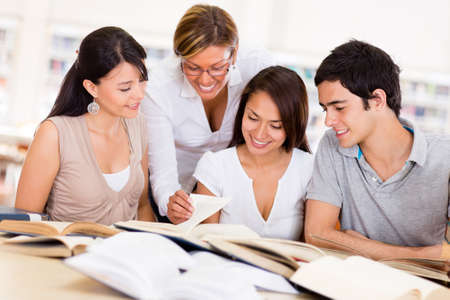 latin students: Group of college students at the library