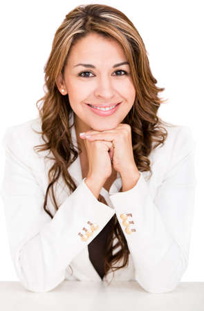 Happy business woman smiling - isolated over a white background Stock Photo - 16711091