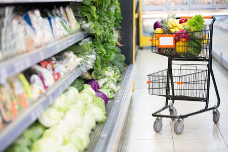 Full shopping cart at the supermarket Stock Photo - 16801690