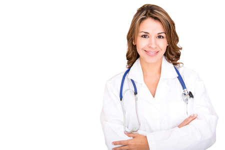 Friendly female doctor - isolated over a white background photo