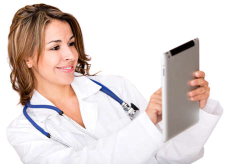 Doctor using a tablet computer - isolated over a white background Stock Photo - 17405969