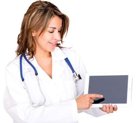 Doctor with a tablet computer touching the screen - isolated over white photo