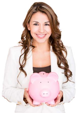 coinbank: Empresaria ahorrar dinero en una alcanc�a - aislados en blanco