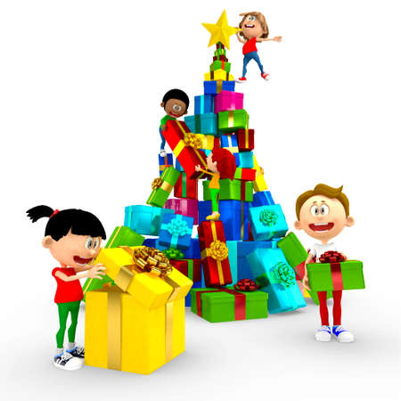 3D happy kids opening Christmas presents by the tree - isolated Stock Photo - 16801668