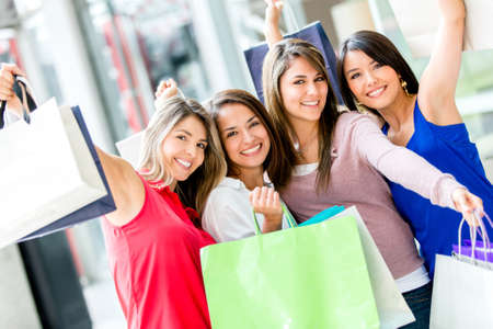 Excited female shoppers at the shopping center Stock Photo - 16848461