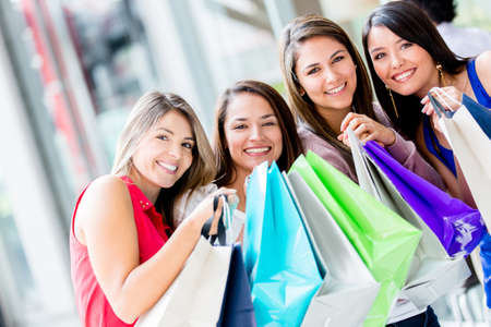Beautiful group happy girls at the shopping center Stock Photo - 16848467