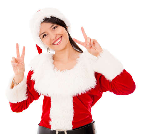 Happy female Santa celebrating Christmas - isolated over a white backgorund photo