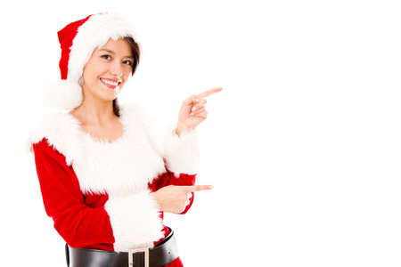 Miss Claus presenting something and pointing - isolated over a white backgorund Stock Photo - 16848429