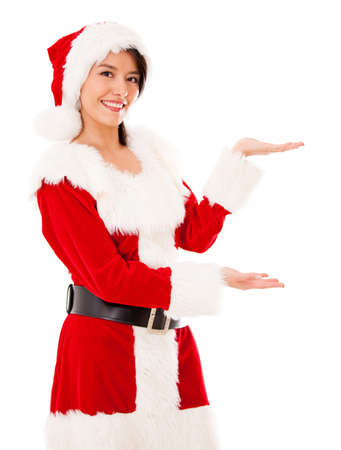 mrs  santa: Female Santa displaying something with her hands - isolated over white Stock Photo