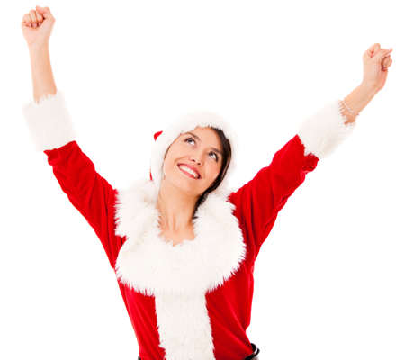 Happy female Santa with arms up - isolated over a white backgorund Stock Photo - 16848431