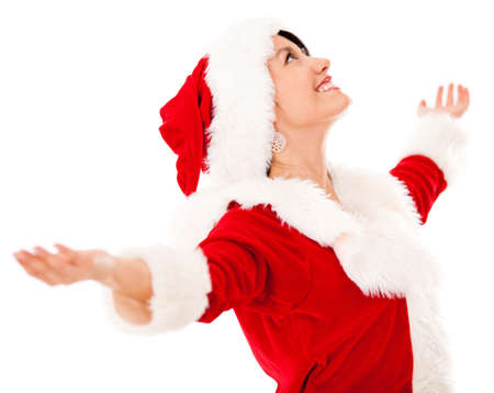 Happy female Santa with arms open - isolated over a white background Stock Photo - 16848439
