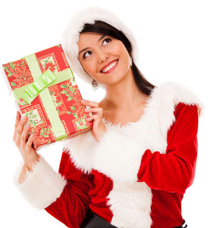 guessing: Female Santa with a Christmas gift - isolated over a white background