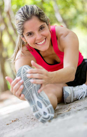 beautiful legs: Woman working out at the park looking very happy