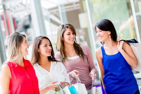 Happy group of shopping girls at the mall Stock Photo - 17425388