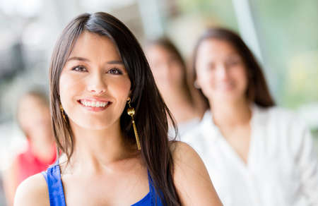 women friends: Portrait of a happy Latin woman smiling Stock Photo